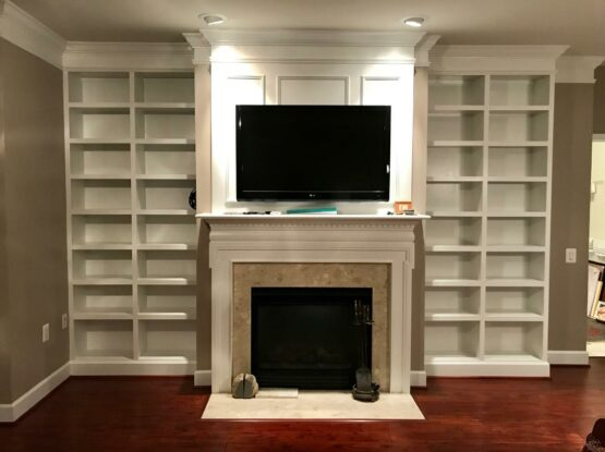 Fireplace and cabinets